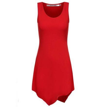 Camiseta Asimética para Mujer-Rojo