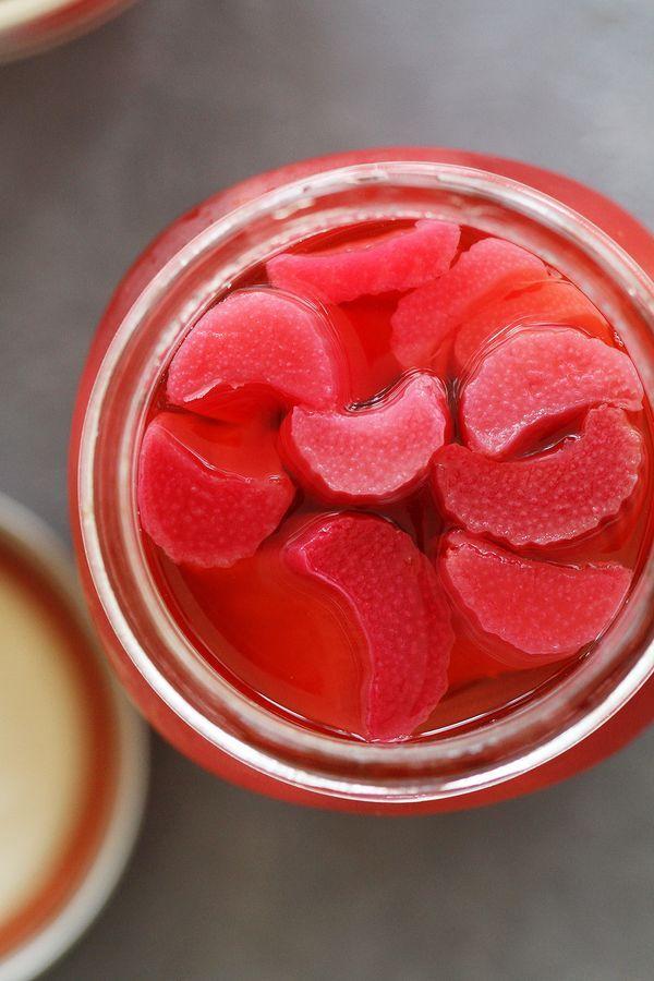 Easy Pickled Rhubarb | girlversusdough.com @girlversusdough