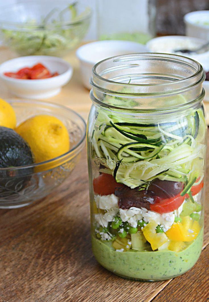 Zucchini Pasta Salad With Avocado Spinach Dressing #masonjar #recipes http://greatist.com/eat/mason-jar-recipes