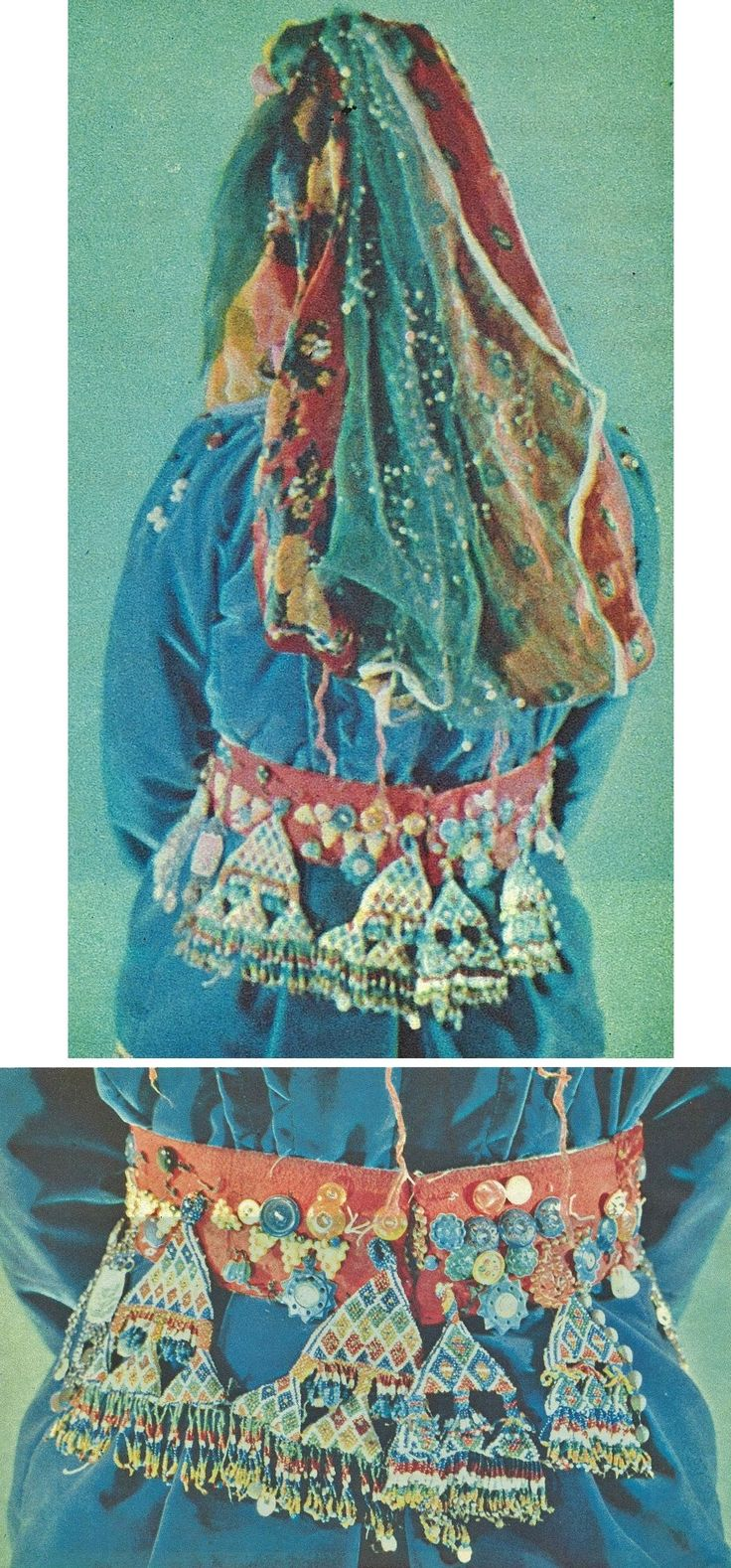 Rearview of a traditional bridal costume from Türkmen villages in the Dinar district (Afyon province), e.g. in the valley of Çölovası.  Ca. 1975.  With a close-up of the beadwork pendents adorning the bride's waist belt.  (Archives of Kavak/Antwerpen).