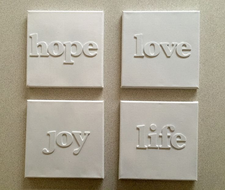 Simple canvas with wooden letters placed on them. Could make any simple words. Beautiful to hang on the walls in a home.