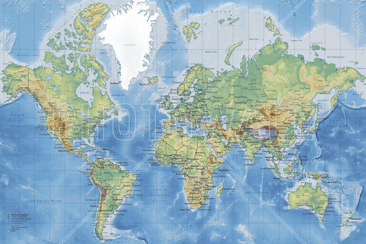 Wereldkaart - World Map Detailed Without Roads - Fotobehang & Behang - Photowall