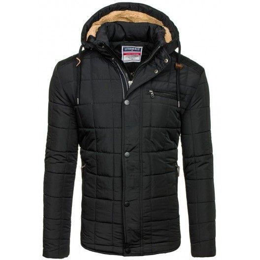 Pánske zimné zateplené bundy čiernej farby - fashionday.eu