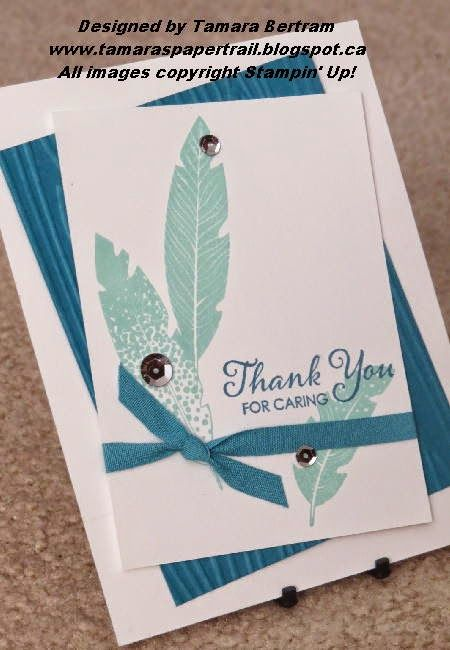 Easy Homemade Cards; Four Feathers; Stampin' Up! Tamara's Paper Trail