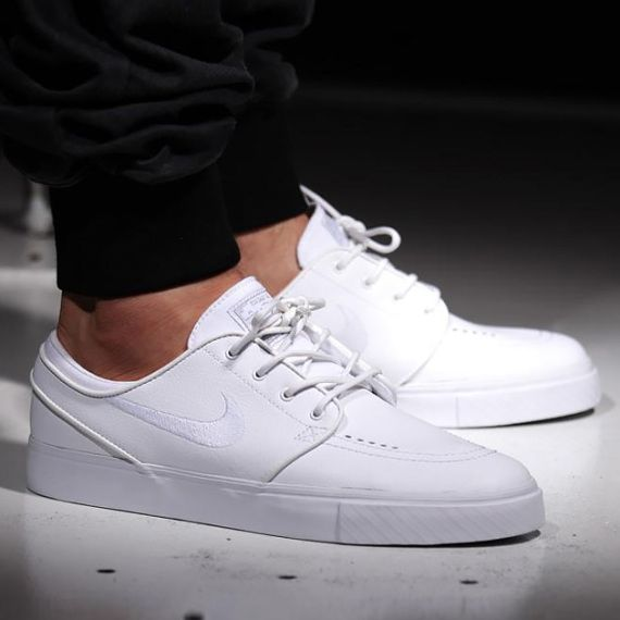 "8a3993fc87 Nike SB Zoom Stefan Janoski Leather - ""All White/Whiteout"" | Marcus ..."
