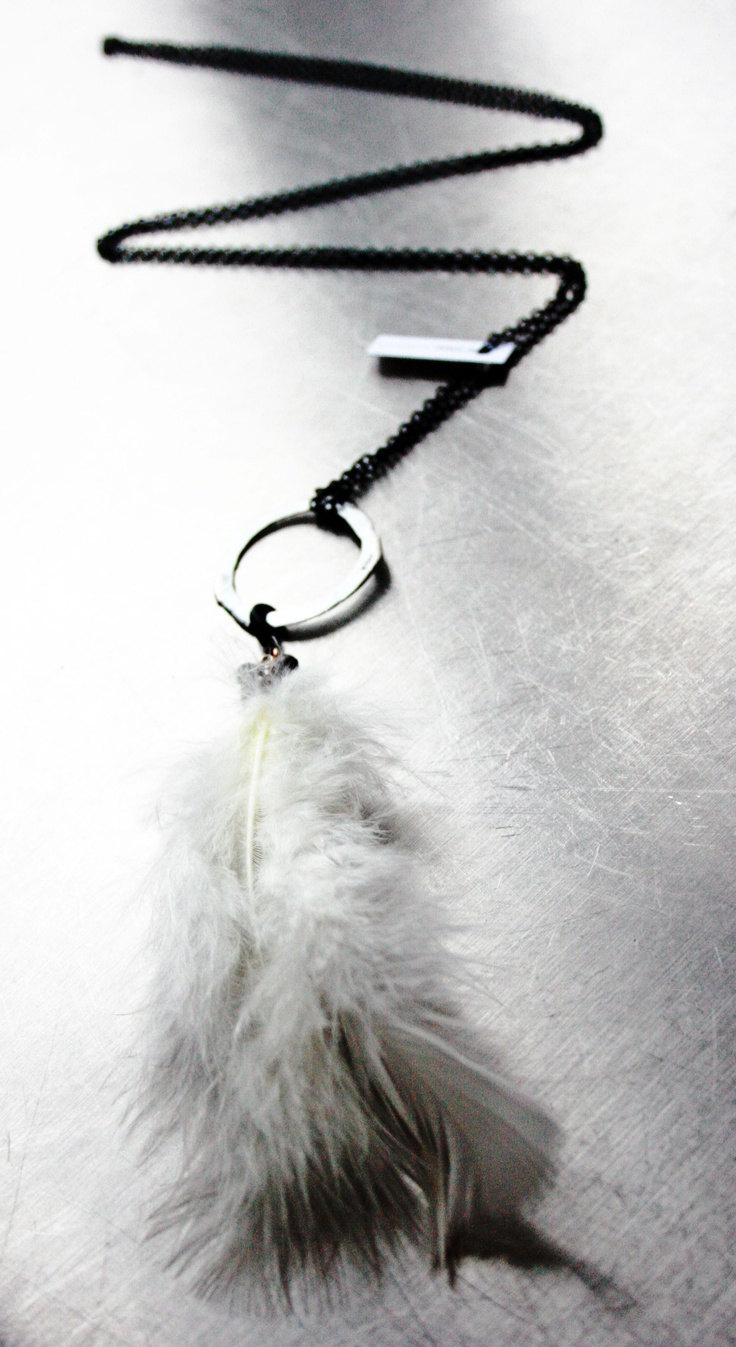 """tales of a feather"" white with black semi precious bead. By t-raw jewelry"