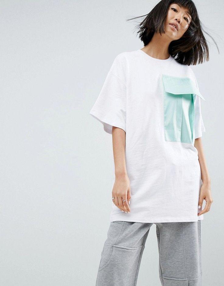 ASOS WHITE T-Shirt With Satin Pocket - White
