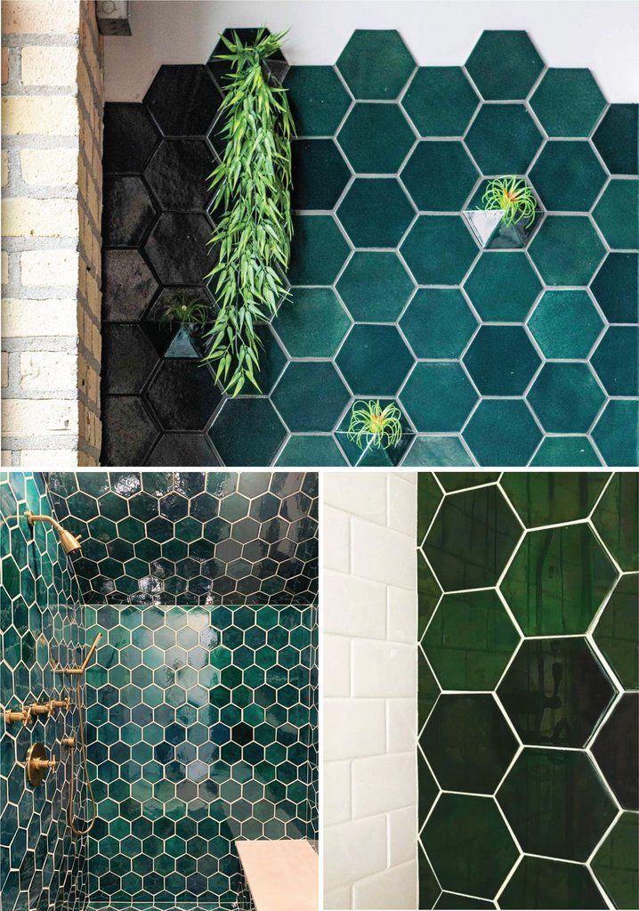 emerald green tiled kitchen backsplash