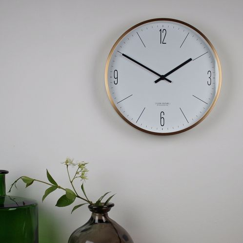Couture wall clock - copper/ burnished brass. Simple, classic design, Scandinavian clock.