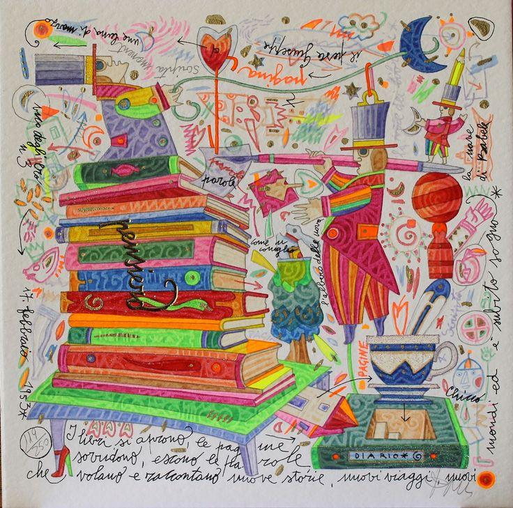 I libri si aprono... Francesco Musante, Serigrafia polimaterica + glitter #gliartistidiGALP
