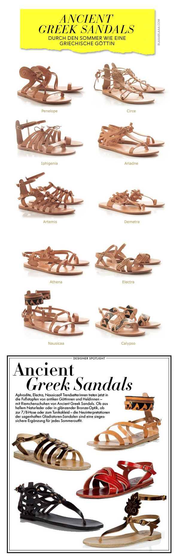 Sandal styles inspired by the culture of Ancient Greece.