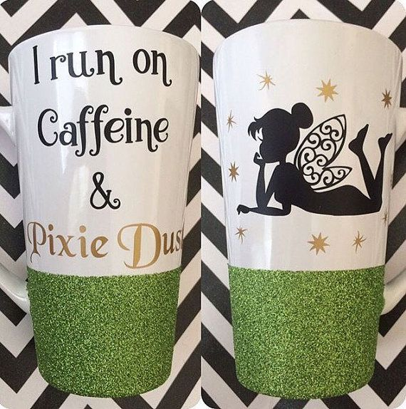 If you love Tinkerbell, then this is the mug for you! It is a 16 ounce coffee mug dipped in glitter that has been sealed. Strong, high quality