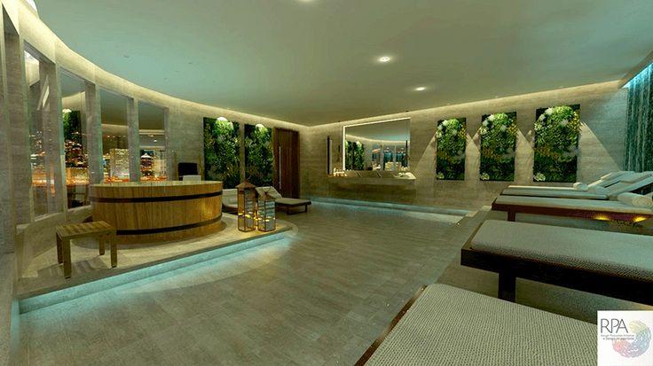 Spa Urbano com área de ofurô, chaise para relax, jardim vertical, bancada de pia com espelho e piso em mármore travertino.