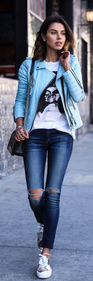 What to wear with blue leather jacket
