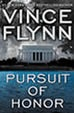 Vince Flynn's, 'Mitch Rapp', novels. 'Pusuit Of Honor' is the latest.