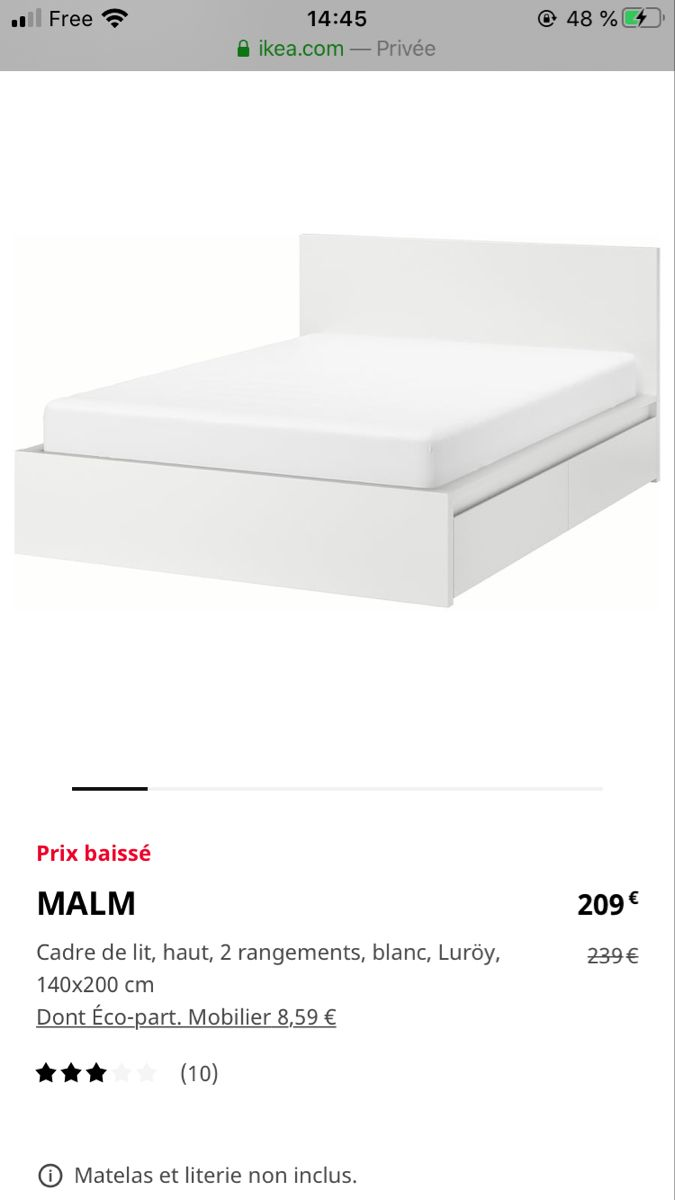 Malm Cadre De Lit Haut 2 Rangements Blanc Luroy 140x200 Cm Ikea En 2020 Cadre De Lit Malm Rangement Sous Lit