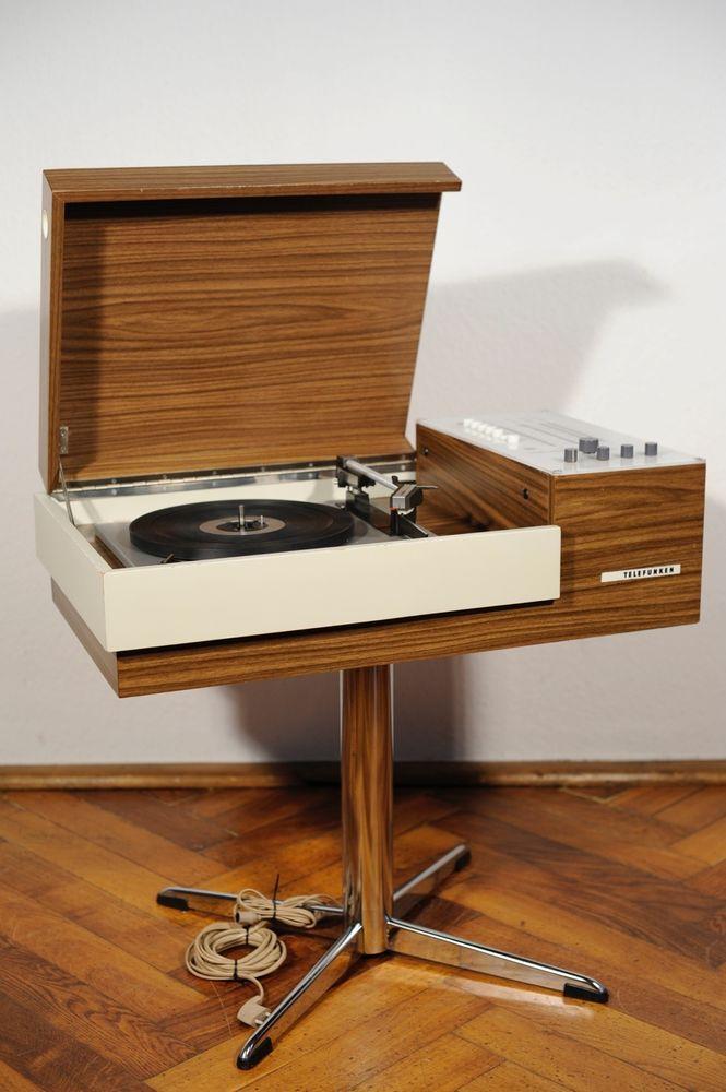 Serviced Mid Century Telefunken Rondo Record Player Turntable Radio Speakers 70s