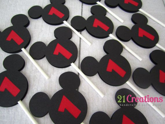Mickey-Mouse Cupcake Toppers set 12 | Deko | Pinterest