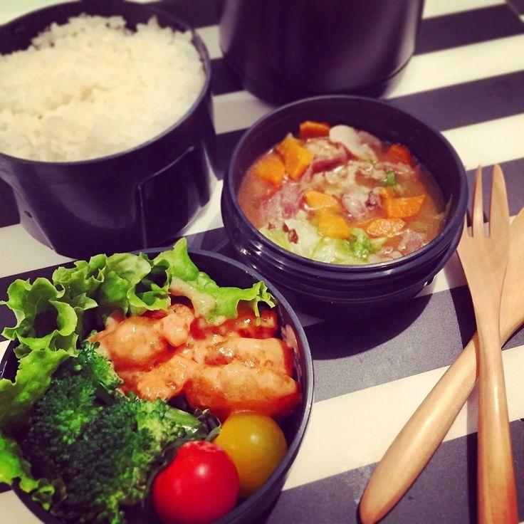 中華丼 & 海老マヨ スープジャーお弁当   Rar!sa:)さんのお料理