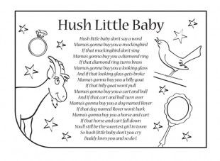 "Download the printable lyrics below to this beautiful nursery rhyme, ""Hush Little Baby"". You can listen to and buy Sarah J. MacDonald's Magical World of Nursery Rhymes from iTunes or Amazon MP3 here. The album is a brilliant collection of 30 children's songs and nursery rhymes including Hush Little Baby."