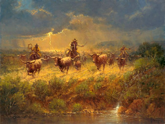 These cowhands know time is not on their side as the dark skies open up, the lighting flashes, and the storm fast approaches. New art piece from G. Harvey!