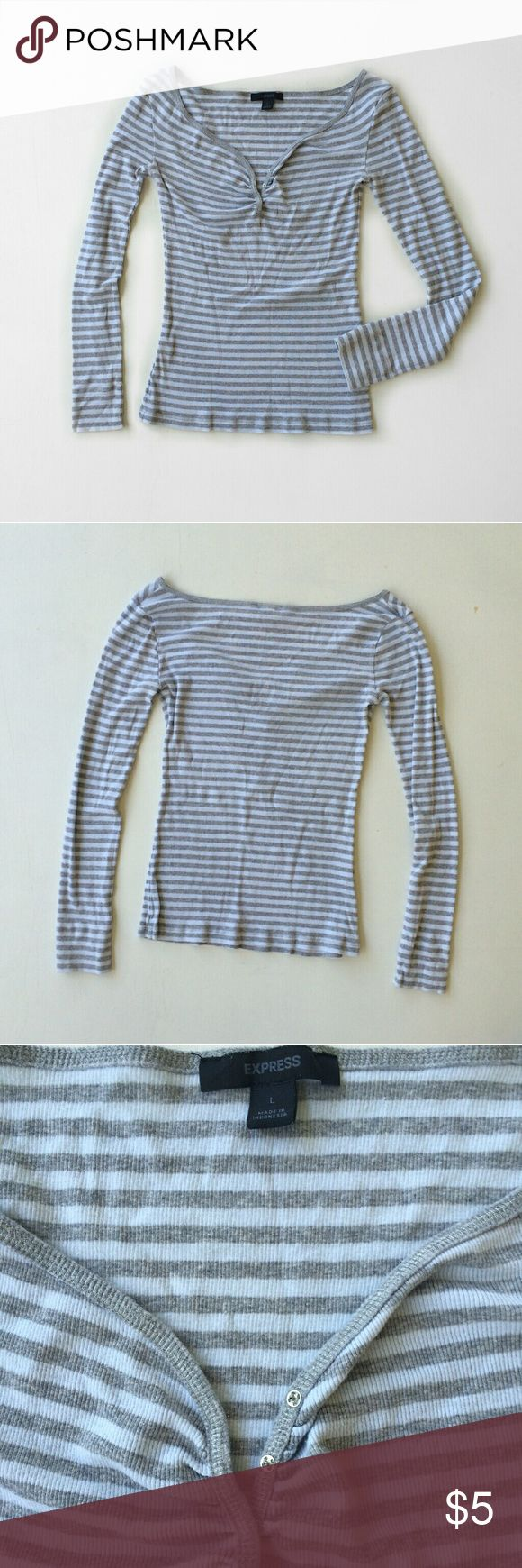 Express Striped Henley Tee Some general wear but in overall good condition. Very stretchy. Size large   100% cotton Laying flat: Express Tops Tees - Long Sleeve