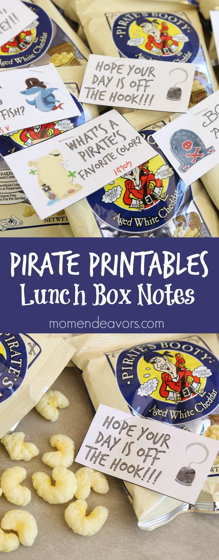 Printable Pirate Lunchbox Notes and Pirate's Booty Snacks - perfect for Talk Like a Pirate Day! #PiratesBootyParty AD