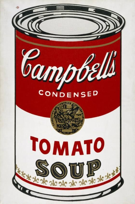Andy Warhol Campbells Soup- The idea behind this piece is commercial consumerism. It is the signature image of the artist's career and a key transitional work from his hand-painted to photo-transferred paintings. The Soup Image mimics the standard red, black and white of the original Campbell's product. The cans show his interest in every day common objects.