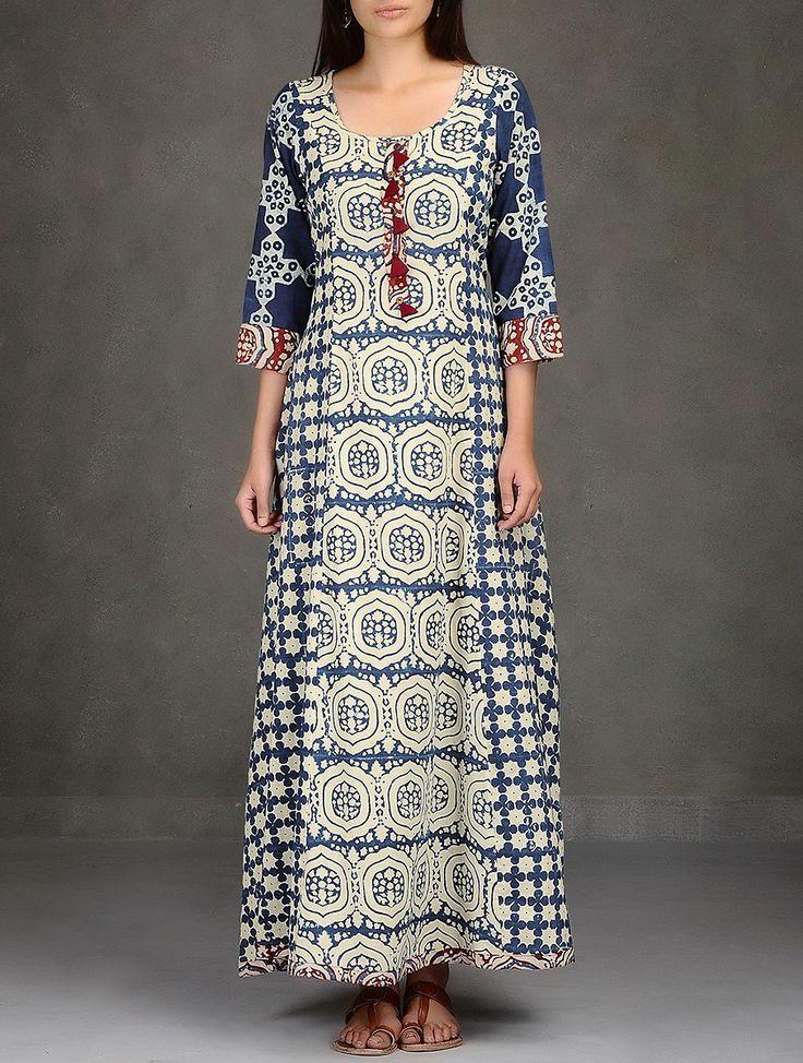 Buy Beige Indigo Natural Dyed Ajrakh Printed Flared Cotton Long Dress with Pockets Online at Jaypore.com