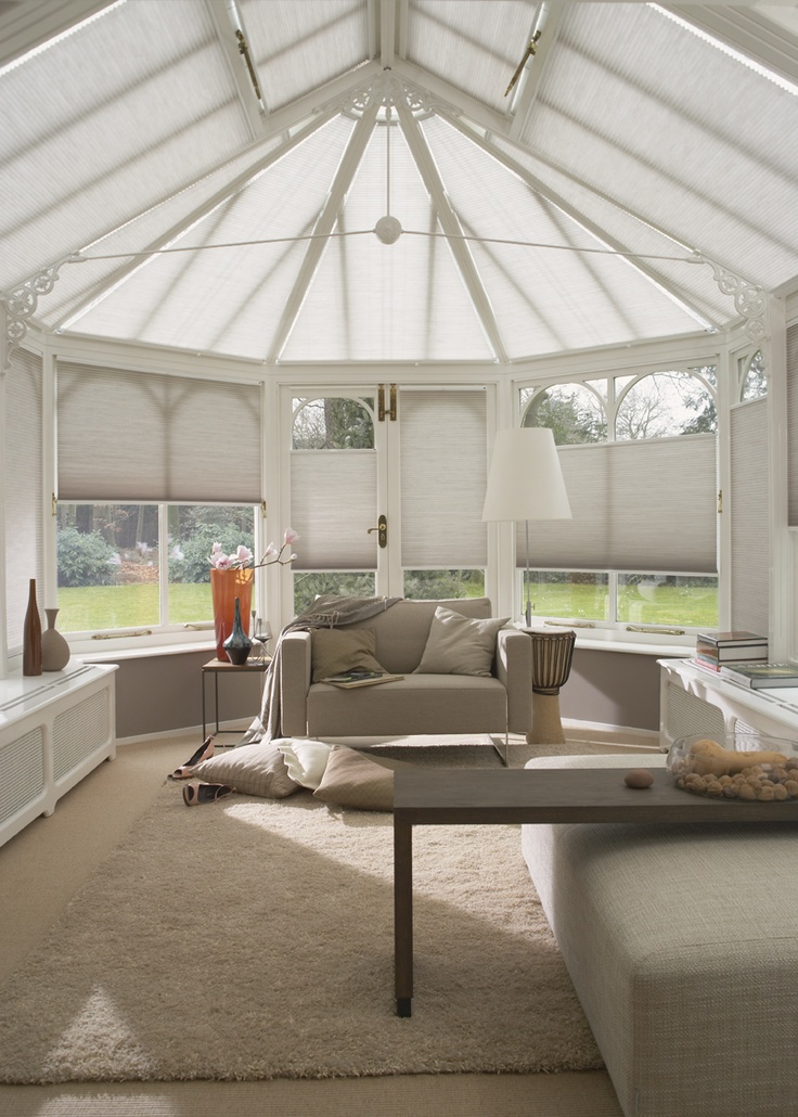Duette® Shades from Luxaflex® are ideal for conservatories! They improve insulation at the window and help reflect sunlight, keeping you cool during the summer. www.luxaflex.com