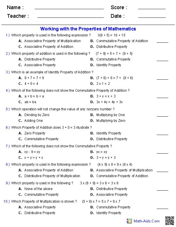 Printables Integrated Math Worksheets 1000 images about math properties on pinterest 3rd grade additionmultiplication communicative associative worksheets