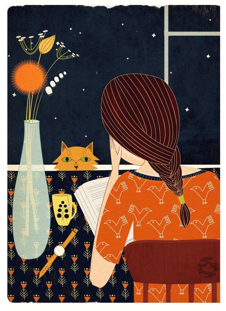 bibliolectors: Largas noches de verano, largas noches de lectura (ilustración de Lidia Tomashevskaya)lidiatomashevskaya
