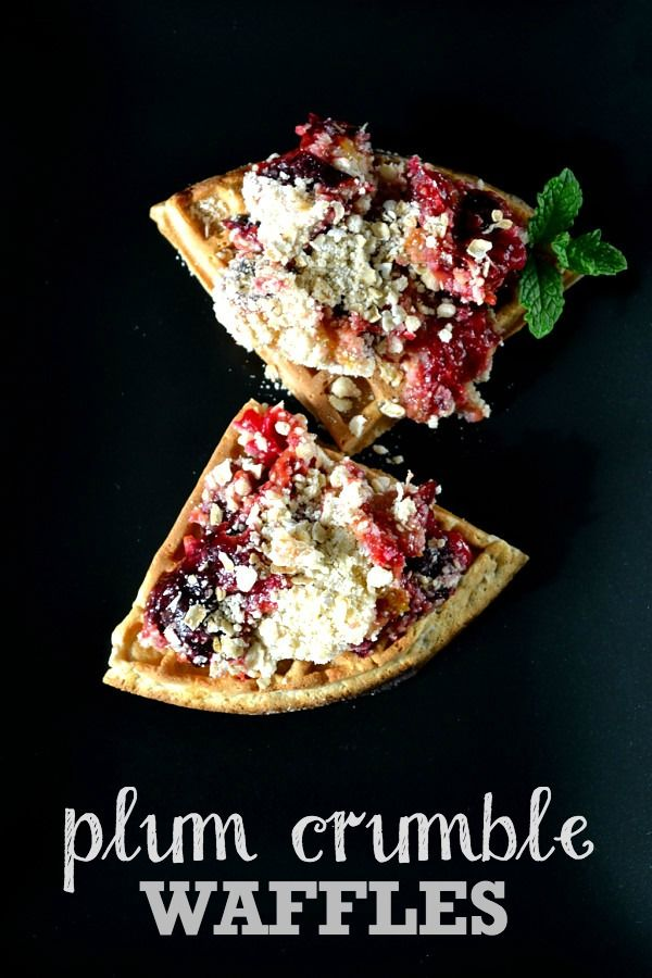 plum crumble waffles plum crumble crumble topping tasty vegetarian ...