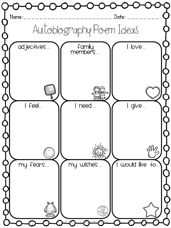 """FREEBIE graphic organizer to go along with the """"All About Me"""" Autobiography Poem! Perfect End of the Year or Back to School Writing Activity, but really can be used at any point! GRADES 3-5."""