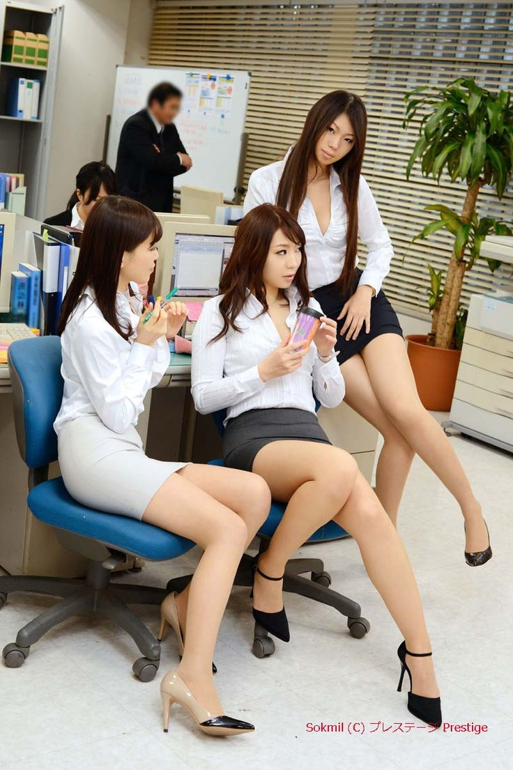 image Three office ladies are foot fucking the weirdo039s erect pecker