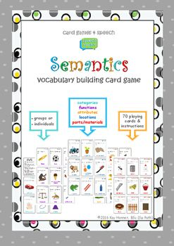 If you love our Freebie Categories Card Game, then you may like to try the new full version: Semantics Vocabulary Building Card Game.Great fun one-on-one or in small groups. Your students will love the challenge while building their vocabulary. How many items can they name in 1 minute?