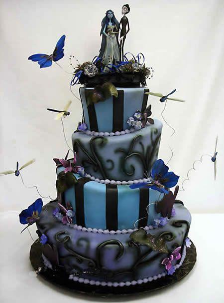 "Spooky ""Corpse Bride"" wedding cake, inspired by the film by Tim Burton #CakesInspiredByFilm Totally Awesome Cake!"