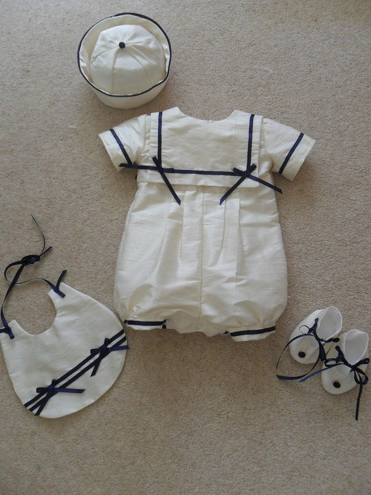 Sailor Romper Suit Christening Gown with hat, bib and booties for Christening Wedding Special Occasion. £89.99, via Etsy.