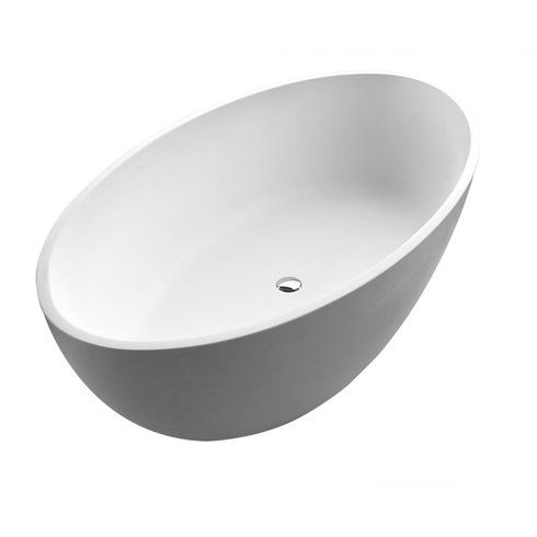 "Quinn 66.5"" x 36.37"" Artificial Stone Freestanding Bathtub"