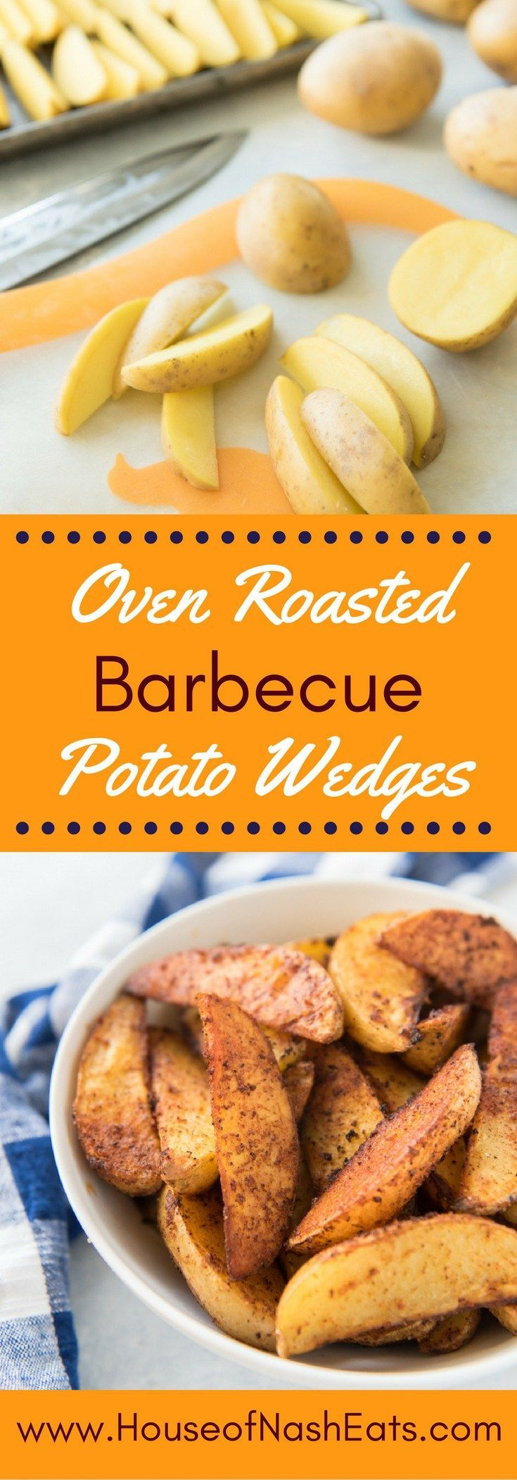 Big, bold barbecue flavors make these oven roasted barbecue potato wedges an incredibly delicious side to any meal.  They are seasoned perfectly with a crispy exterior and soft, almost buttery insides!  Like your favorite BBQ potato chips, they are hard t