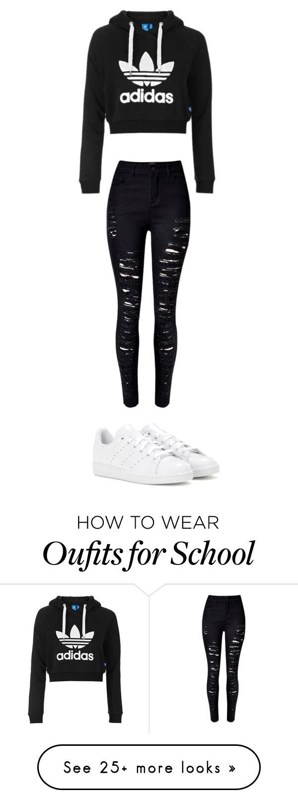 """school"" by sabinekoning on Polyvore featuring Topshop, WithChic and adidas"