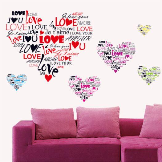Hemdekor - Väggdekor Hjärtan Med Kärleksord
