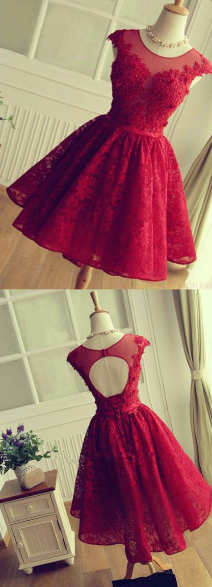 Cute Red Knee-length Red Short Lace Christmas Party Dresses