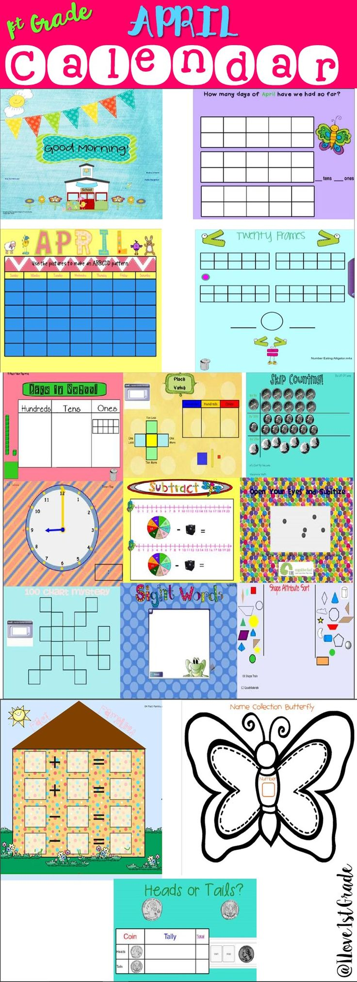 This 19 page SMARTBoard calendar is all you'll need to begin each day of April with a rigorous yet engaging start. It is aligned with CCSS ELA and NBT, Geometry, Data and Measurement and Operations standards.