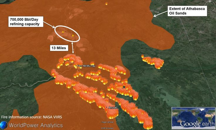 """WorldPower Analytics on Twitter: """"Map: #FortMcMurray fire now only 13 miles from major #oil sands refineries. #ftmacfire #FortMacFire https://t.co/a8AT81afNW"""""""
