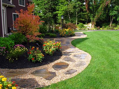 front walk landscape idea love the flowers and rocks along the walkway obviously