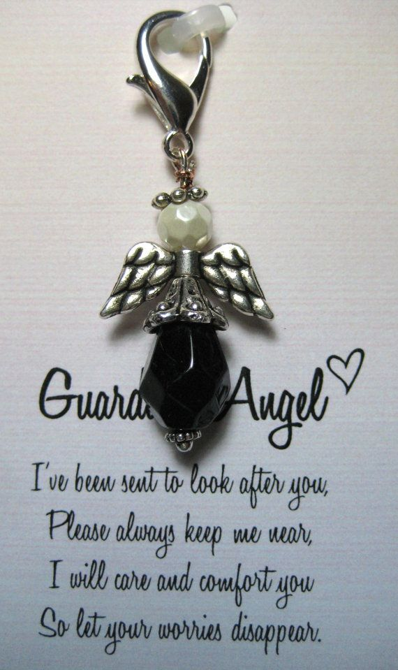 Black and White Guardian Angel Key Chain Charm by sweetvioletlane, $8.00~ an idea as part of the gift for our bridesmaid include an angel symbol/gift as part of the gift package love this!