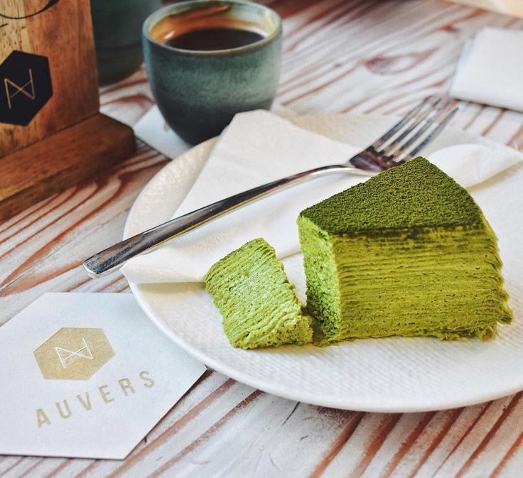 Matcha Mille Crepe Cake  Every bite looks like a piece of heaven!   @nat_sweetdiary  . Want to create your own zen? Try our Ultra Premium Green Tea today. Link in bio!