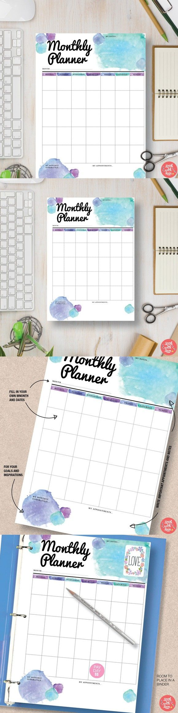 Monthly Planner: Half & Letter. Stationery Templates. $2.00