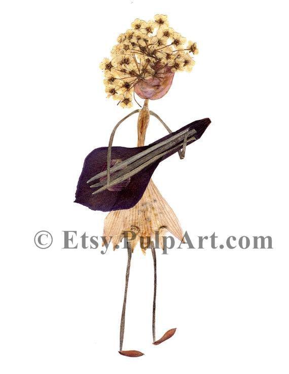 Pressed flower art - Girl playing musical instrument - Petal People card - digital print of original artwork - guitar, banjo, mandolin, lute